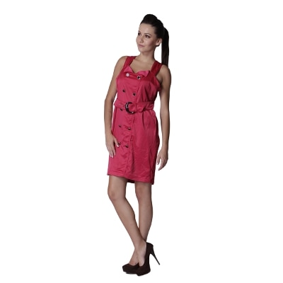 Trendy DivvaPink Casual Dress With Front Buttons
