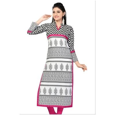 Plus Size Kurtis Long White Printed Pakistani Cotton Kurtis