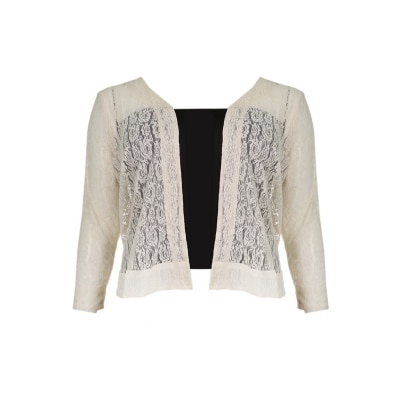 Plus Size Lace Open Shrug