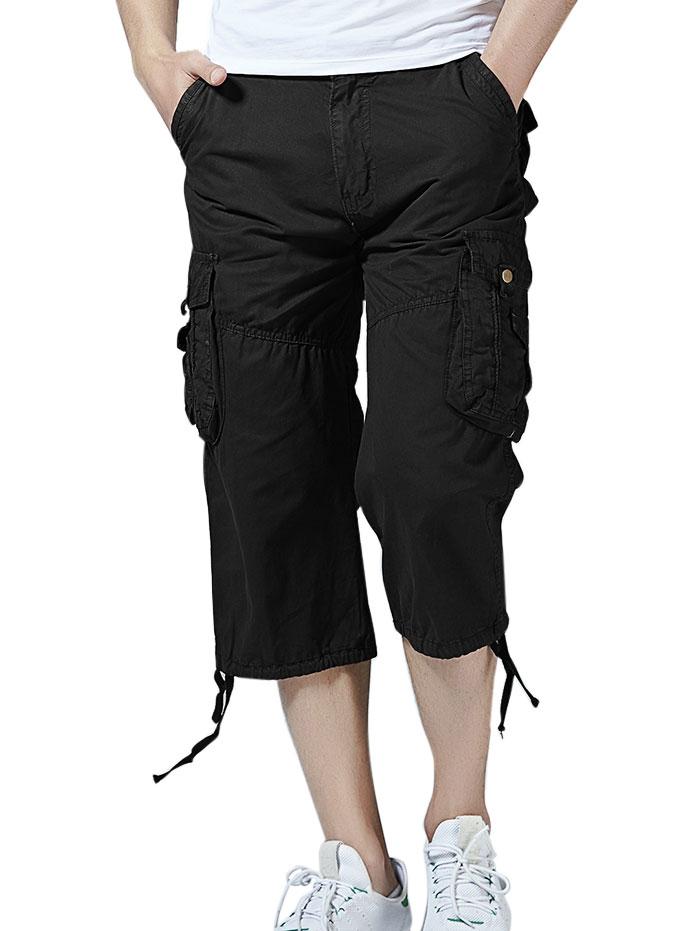 Pockets Drawstring Hem Cargo Pants