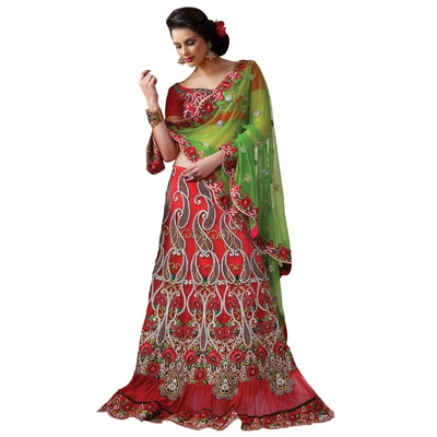Prafful Orange Georgette Embroidered Wedding Wear Saree available at Paytm for Rs.13880