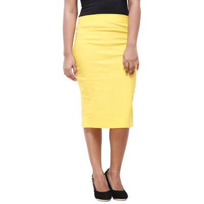 Purple Feather Yellow Blended Lycra Skirt