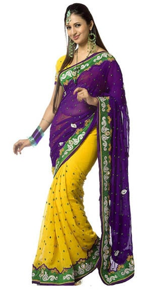 Purple Yellow color Designer Chiffon Embroidered Party wear Saree available at Paytm for Rs.749