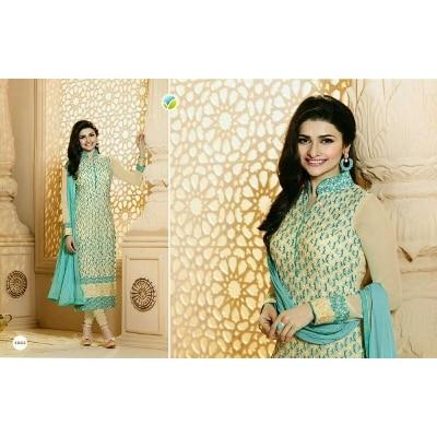Rahi Fashion Prachi Desai creem Georgette Embroidered Straight Suit_RF20563