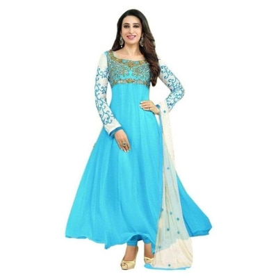 Rahi Fashion Karishma Kapoor Sky Blue Georgette Semi Stitch Suit_535_sky Blue