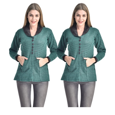 Rakshita's Collection Green Polyester And Blended Jacket