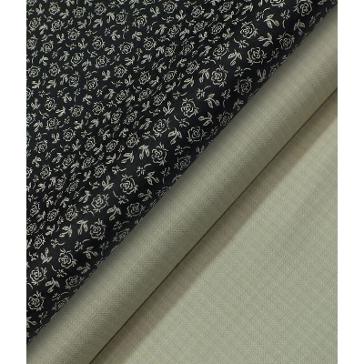 Raymond Light Beige Self Design Trouser Fabric With Monza 100% Cotton Black Printed Shirt Fabric (Unstitched)