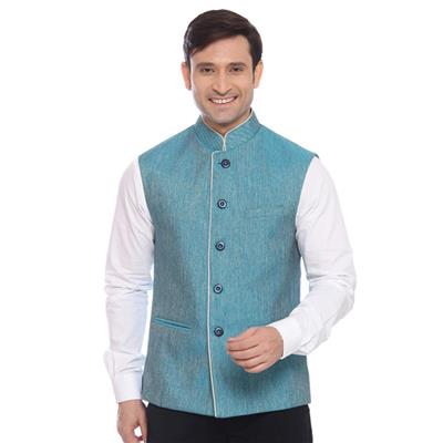 Raymond Blue Ethnic Jacket for men price - Best buy price ...