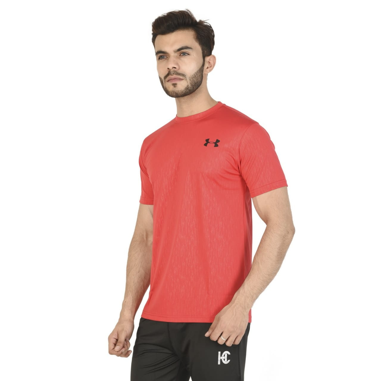 Red Sporty Activewear Round Neck T-shirt