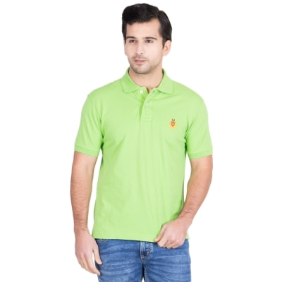 Red Tape Leaf Green Half Sleeves Solid Polo T Shirt