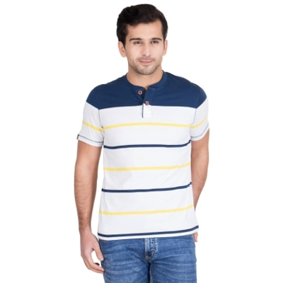 Red Tape Multicolor Half Sleeves Stipper Henley T Shirt