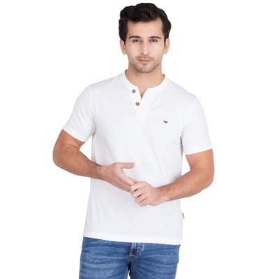 Red Tape White Half Sleeves Henley T Shirt