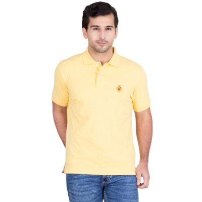 Red Tape Yellow Half Sleeves Solid Polo T Shirt