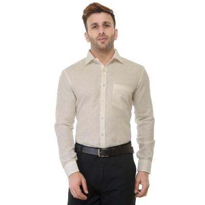 RG Designers Cream Solid Slim Fit Formal Shirt For Men
