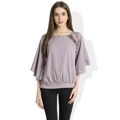 Round Neck 3/4 Sleeves Casual Purple Top