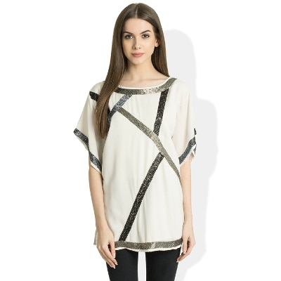 Round Neck Half Sleeves Casual White Top