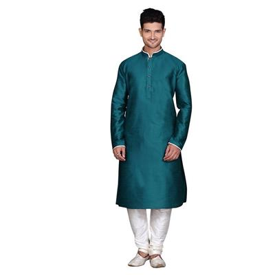 Royal Kurta Turquoise Cotton Kurta Pyjama