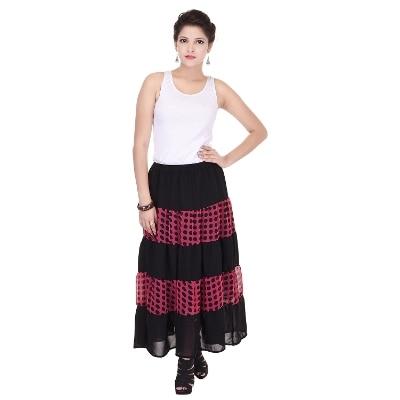 Saarvi Fashion Printed Women's Regular Black Skirt
