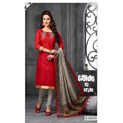 Sareemall Red Color Bhagalpuri Silk Unstitched Dress Material With Dupatta