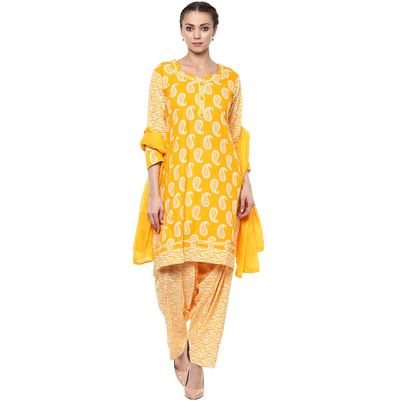 Saundarya Yellow and White Colored Printed Patiala Suit