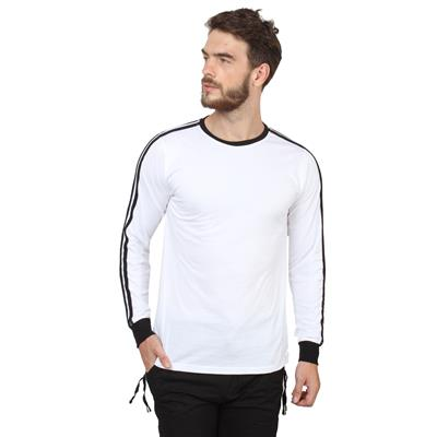 SayItLoud White Cotton Full Sleeves Round Neck Slim Fit T-Shirt