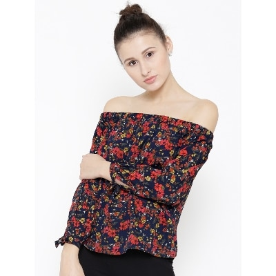 Sera Ladies Navy Off The Shoulder Top