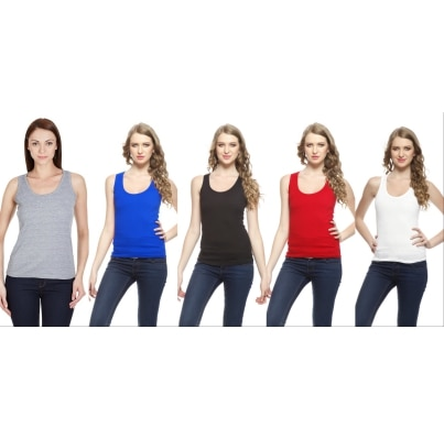 Set Of 5 Black  White  Red  Grey & Royal Blue Color Spaghetti Tank Top Combo