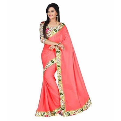 SG Designs Pink Georgette Saree