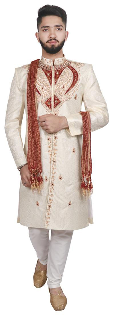 SG LEMAN Blended Medium Sherwani - White