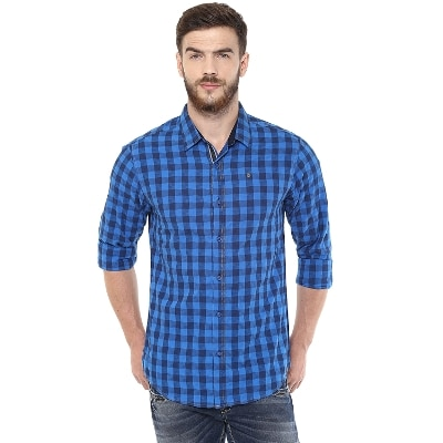 Spykar Mens Blue Retro fit Mid Rise Casual Shirts