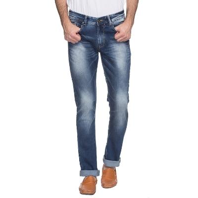 Spykar Mens Dark Blue Narrow Fit Low Rise Jeans (Rover)