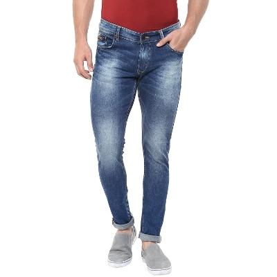 Spykar Mens Mid Blue Super Skinny Fit Low Rise Jeans