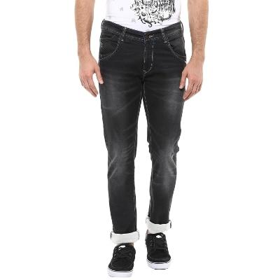 Spykar Mens Black Skinny Fit Low Rise Jeans (Actif)