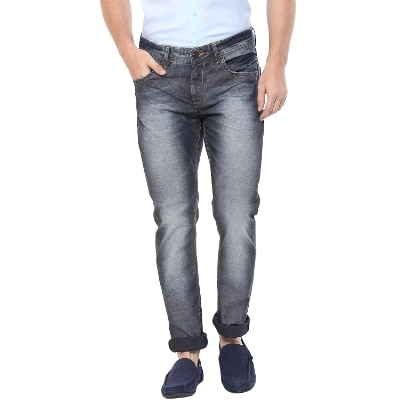 Spykar Mens Blue Skinny Fit Low Rise Jeans (Actif)
