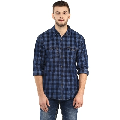 Spykar Mens Navy Retro fit Mid Rise Casual Shirts