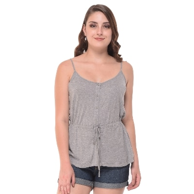 Strappy Grey Heather Top