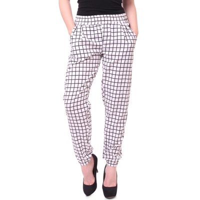 STREET 9 White Crepe And Polyester Comfort Fit Trousers