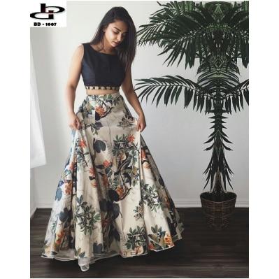 Style Amaze Designer Bangalori Silk Printed Semi-Sttiched Lehanga