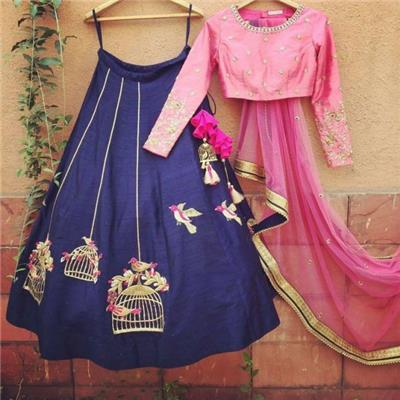 Style Amaze Blue And Gold Georgette Dress Material