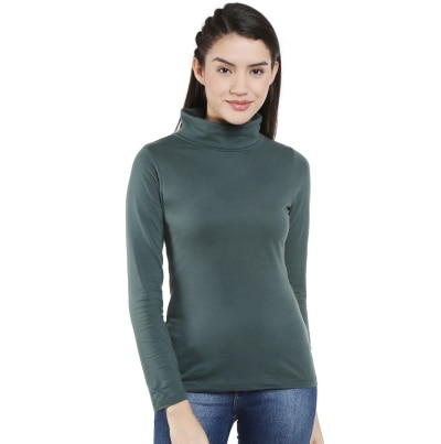 Style Quotient Olive High Neck Top