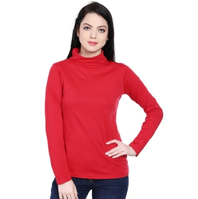 Style Quotient Red High Neck Top