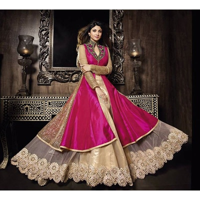 Stylish Fashion Pink and Beige BhagalPuri Neck Embroidered Sarara style anarkali suit