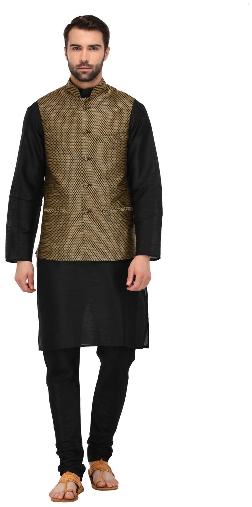 Tag 7 Black Solid Kurta Pyjama With Jacket For Men Price Best Buy