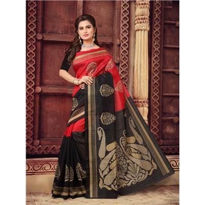Tag Line Red N Black Cotton Saree