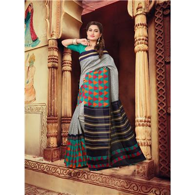 Tagline Grey Bhagalpuri Saree For Wedding