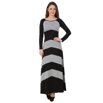 Texco Long Grey And Black Maxi Dress