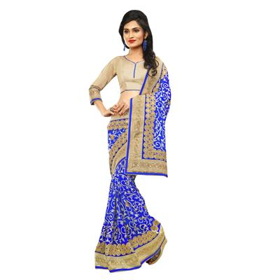 Triveni Fashionable Blue Colored Embroidered Faux Georgette Saree available at Paytm for Rs.11548
