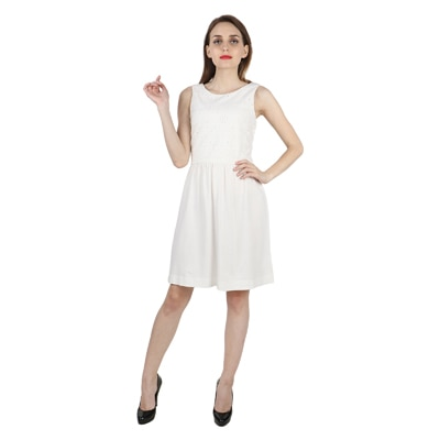 United Colors of Benetton White Cotton Dresses for Women