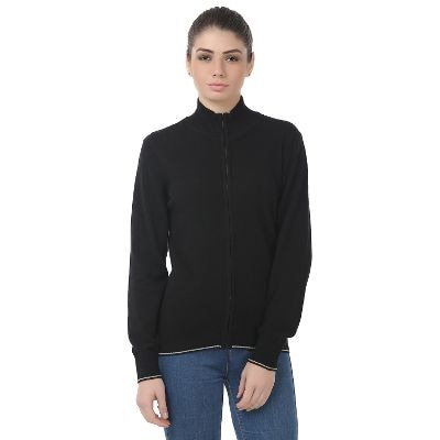United Colors Of Benetton Black Lambs Wool Sweaters For Womens