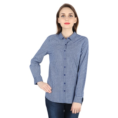 United Colors of Benetton Blue Cotton Shirts for Women